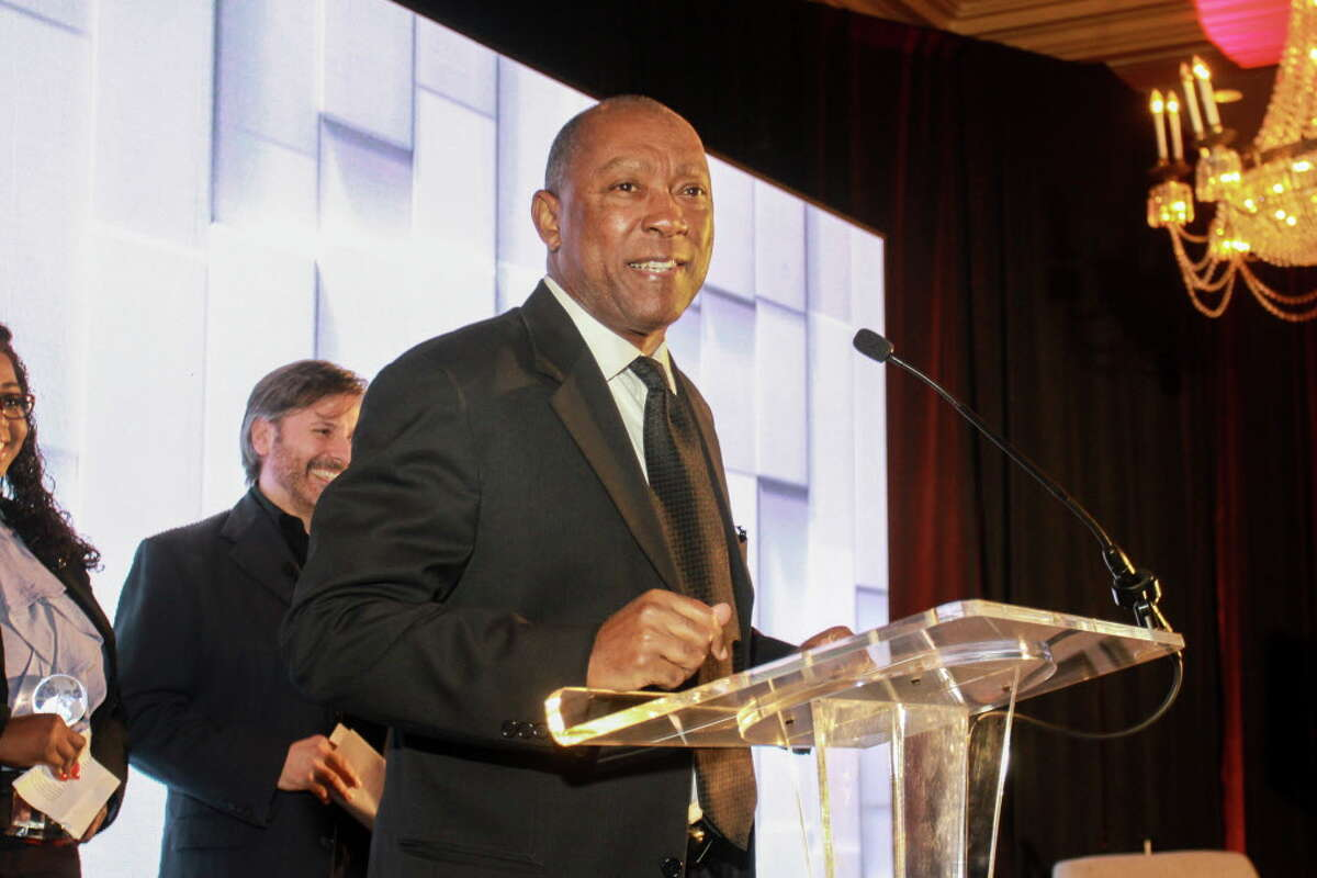 Mayor Sylvester Turner speaking at the World Aids Day luncheon at the Hilton Post Oak.