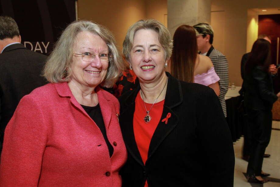 Kathy Hubbard, left, and Annise Parker at the World Aids Day luncheon at the Hilton Post Oak. Photo: Gary Fountain, For The Chronicle/Gary Fountain / Copyright 2017 Gary Fountain