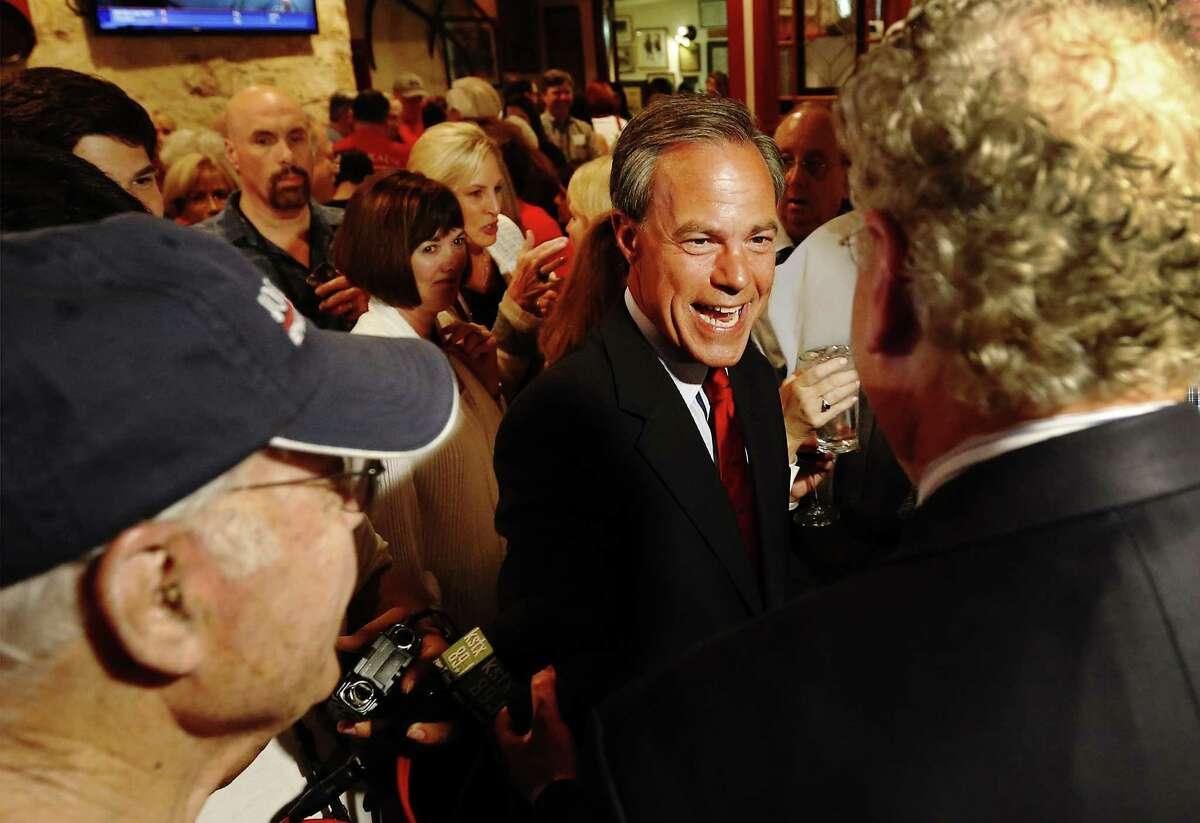 Texas House Speaker and District 121 representative Joe Straus gets congratulated by supporters at his re-election watch party at the Barn Door Restaurant on Tuesday, Mar. 1, 2016. Straus faced opposition from Jeff Judson and Sheila Bean. (Kin Man Hui/San Antonio Express-News)