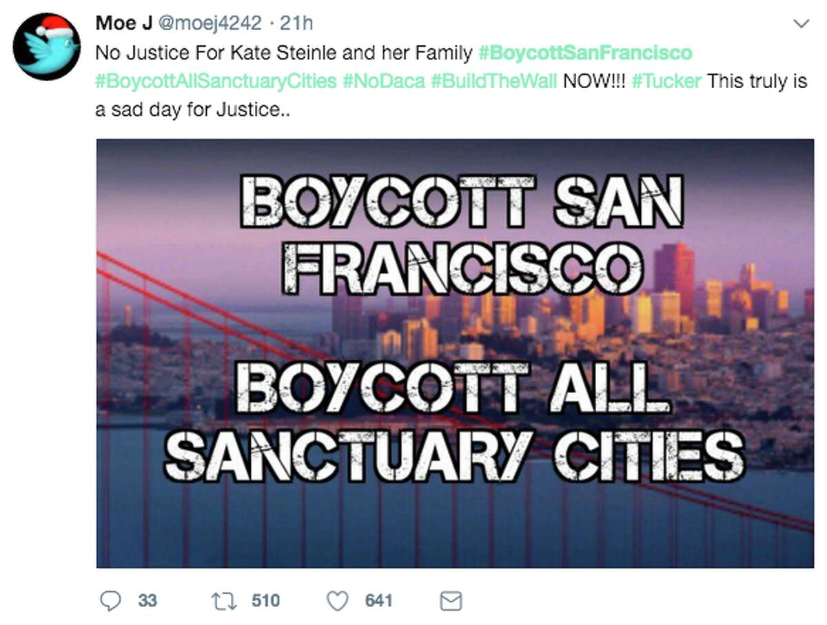 Thousands tweeted to #BoycottSanFrancisco in the wake of the stunning Kate Steinle verdict. On Thursday night, a jury acquitted undocumented immigrant Jose Ines Garcia Zarate for the 2015 high profile killing of Steinle.