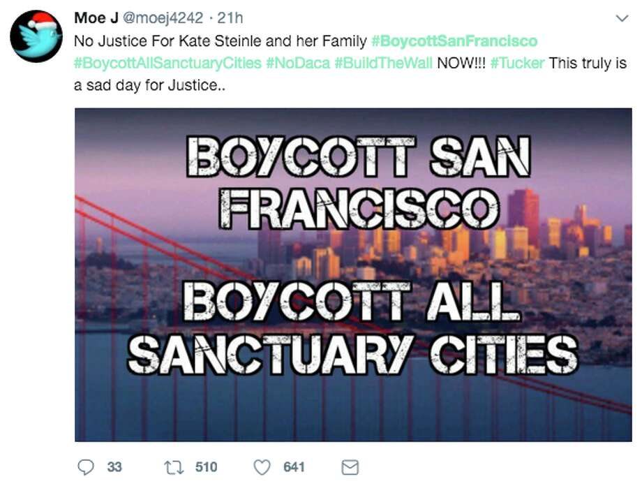 Thousands tweeted to #BoycottSanFrancisco in the wake of the stunning Kate Steinle verdict. On Thursday night, a jury acquitted undocumented immigrant Jose Ines Garcia Zarate for the 2015 high profile killing of Steinle. Photo: Twitter Screen Grab