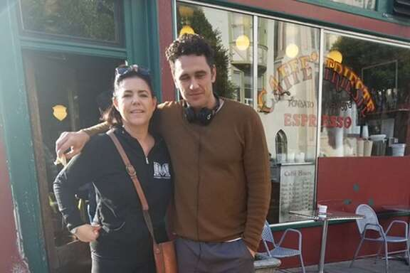 Claire Blackburn and her dog, Boru, snapped a photo with James Franco outside Caffe Trieste in San Francisco on Friday, Dec. 1, 2017.