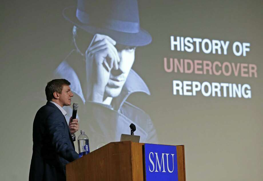 James O'Keefe, of Project Veritas, speaks at on the Southern Methodist University campus in Dallas on Wednesday. Photo: Jae S. Lee / Associated Press / The Dallas Morning News