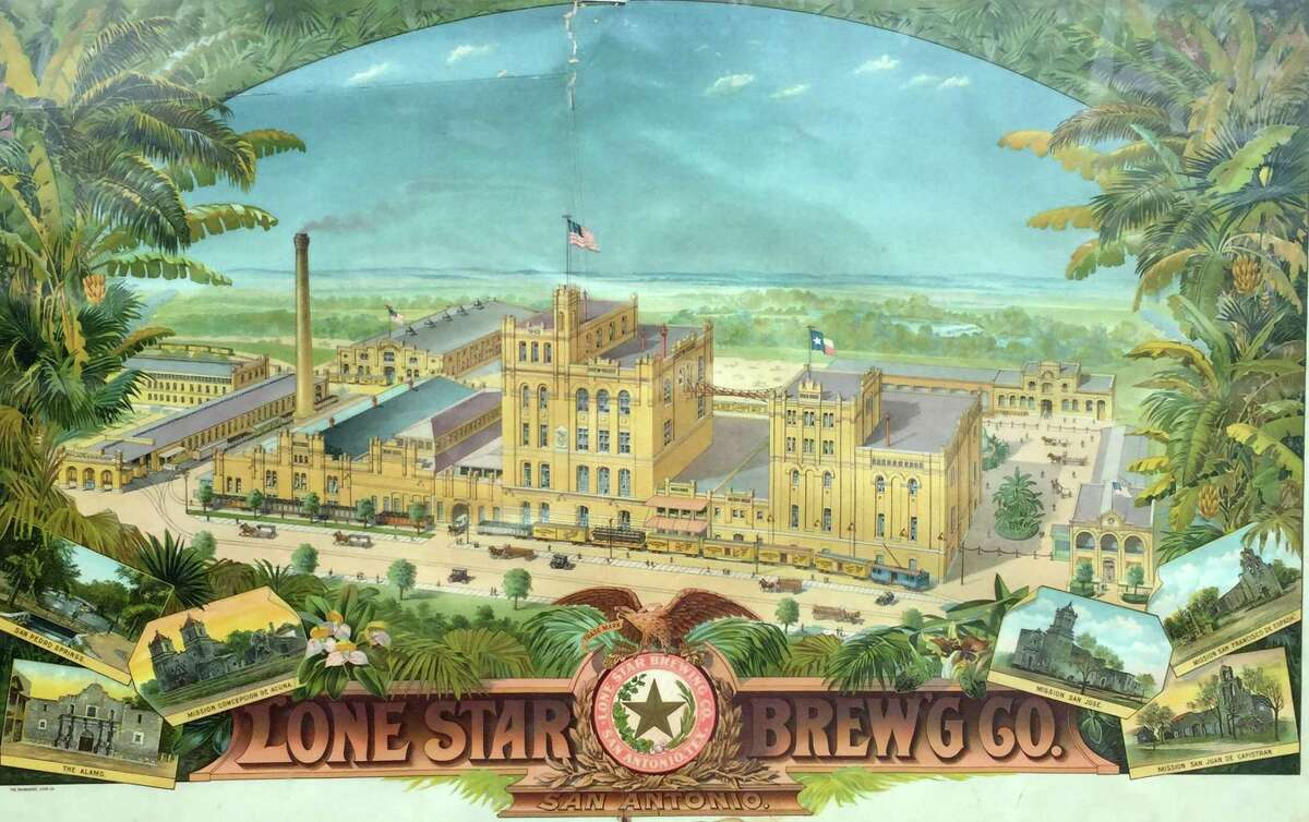 A color lithograph, published circa 1900, shows the growing campus of the Lone Star Brewery on the banks of the San Antonio River. The prints were given to saloons and other customers as advertising.