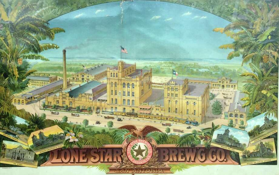 A color lithograph, published circa 1900, shows the growing campus of the Lone Star Brewery on the banks of the San Antonio River. The prints were given to saloons and other customers as advertising. Photo: Courtesy Charlie Staats
