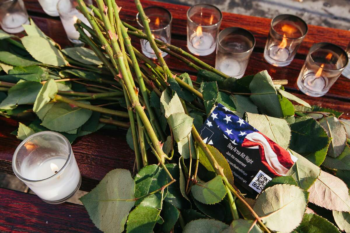 """Pier 14 in San Francisco on December 1, 2017, the morning following the acquittal of Garcia Zarate for the murder of Kate Steinle on July 15, 2015. A memorial was erected the previous evening by a group identifying itself as the """"Bay Area Alt Right."""""""