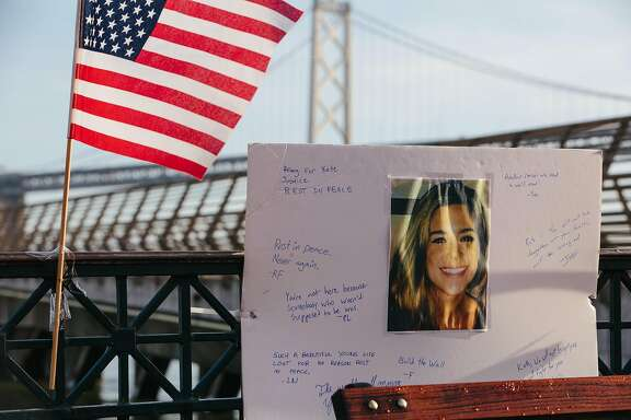 "Pier 14 in San Francisco on December 1, 2017, the morning following the acquittal of Garcia Zarate for the murder of Kate Steinle on July 15, 2015. A memorial was erected the previous evening by a group identifying itself as the ""Bay Area Alt Right."""