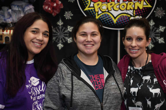 From left, Elizabeth Cortez, Ashley Phillips and Carly Harvey are 'Seen' at the 2017 Main Street Market event at the Beaumont Civic Center on Friday. Photo taken Friday, December 01, 2017 Guiseppe Barranco/The Enterprise