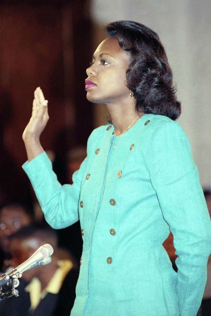Here's where it began in the modern era. Now a University of Oklahoma law professor, Anita Hill is sworn in before testifying before the Senate Judiciary Committee on Capitol Hill in Washington, in this Oct. 11, 1991 file photo. Despite her testimony, Clarence Thomas was confirmed as a Supreme Court justice. Now, however, women are believed more.