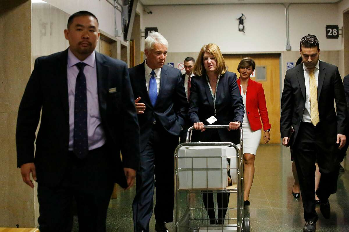George Gasco?-n, San Francisco District Attorney, and Deputy District Attorney Diana Garcia leave Department 13 during a break on the first day of the Kate Steinle murder trial at the Hall of Justice on Monday, October 23, 2017 in San Francisco, Calif.