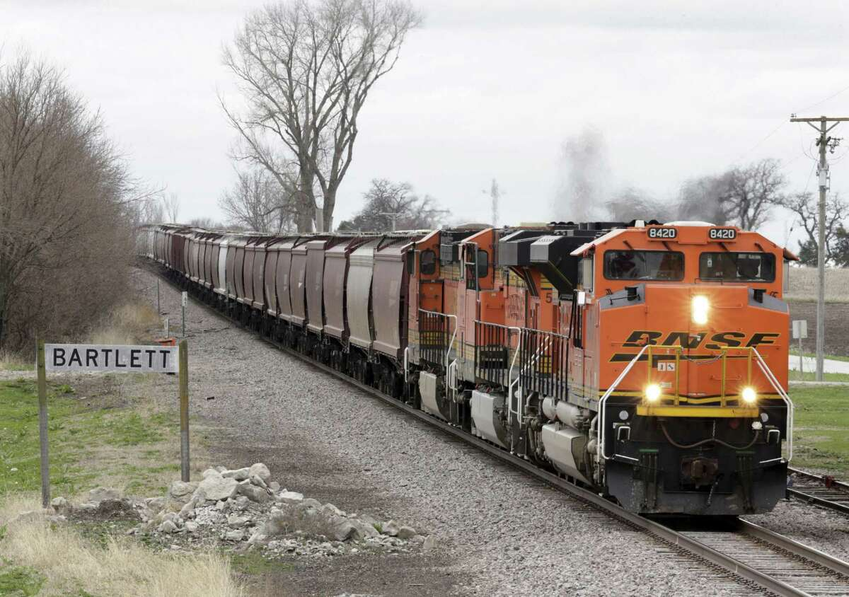 A BNSF Railway train transporting grain passes through Bartlett, Iowa in April. In 2016, the U.S. ran a more than $20 billion trade surplus in agricultural products. NAFTA has widened access to Mexican and Canadian markets, boosting U.S. farm exports and benefiting many farmers.