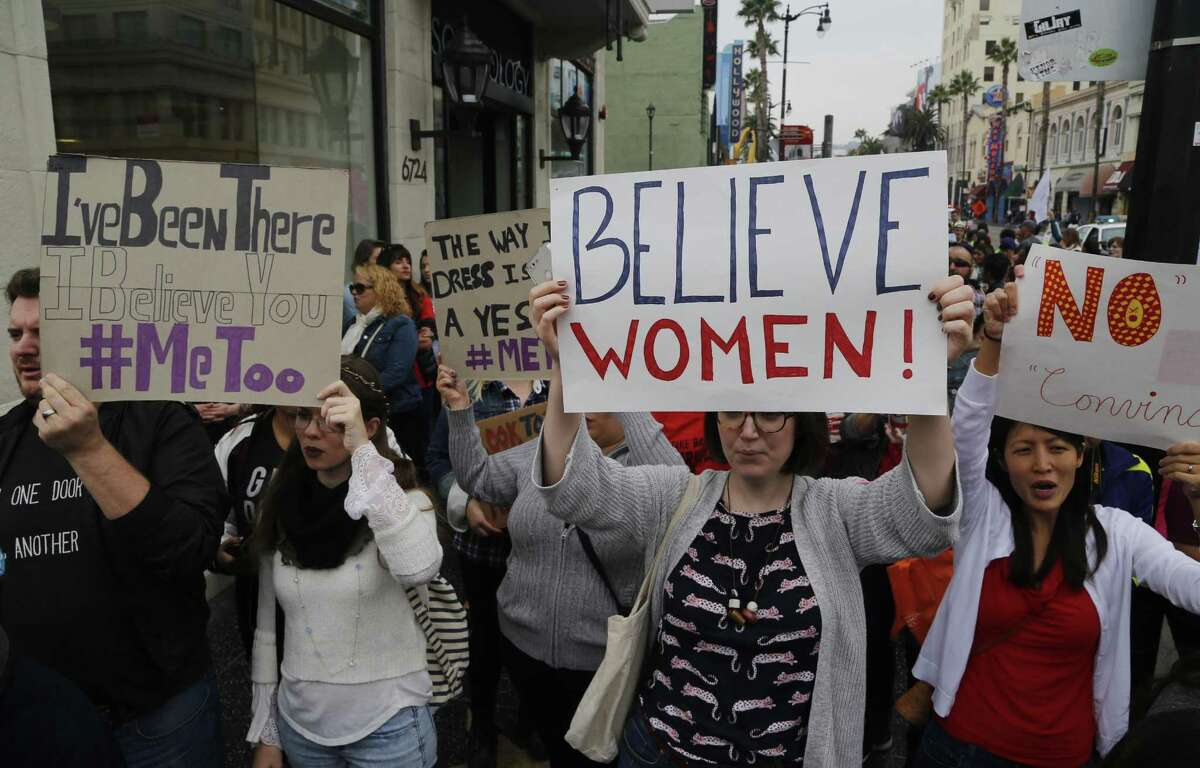 Participants march against sexual assault and harassment at the #MeToo March in the Hollywood section of Los Angeles on Nov. 12.