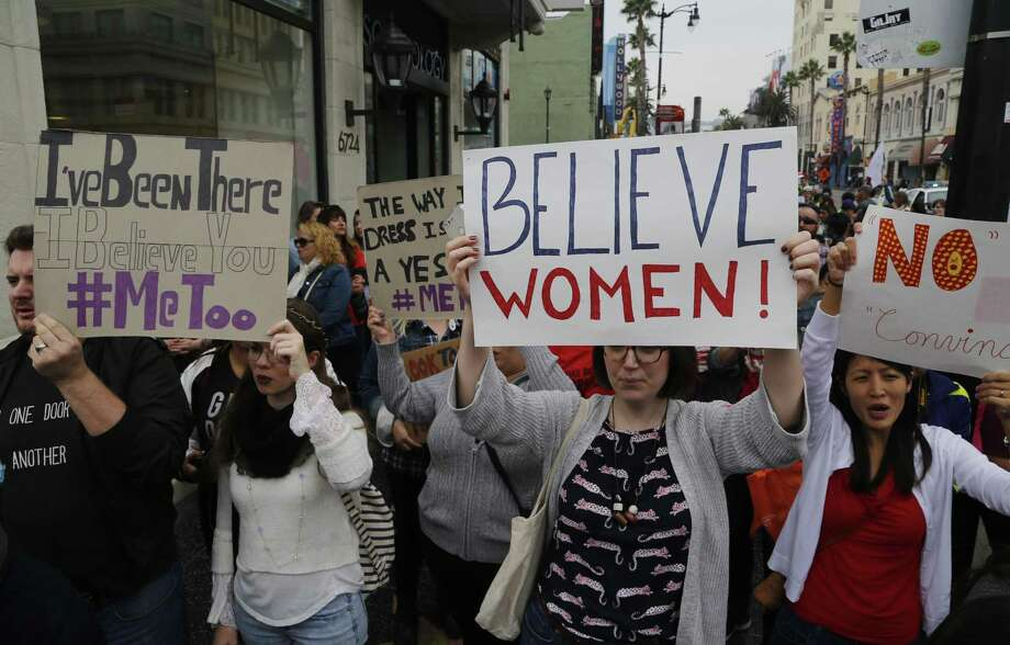 Participants march against sexual assault and harassment at the #MeToo March in the Hollywood section of Los Angeles on Nov. 12. Photo: Damian Dovarganes /Associated Press / Copyright 2017 The Associated Press. All rights reserved.