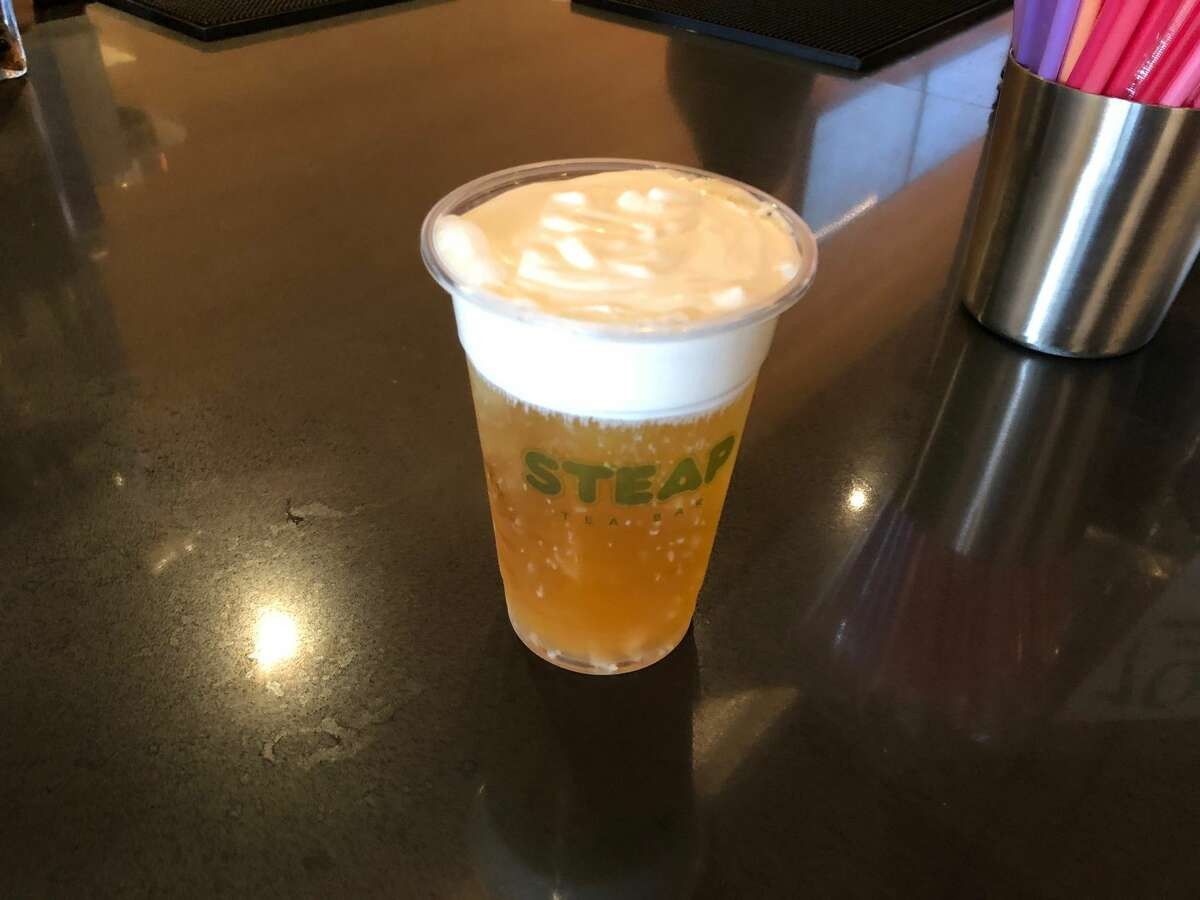 Tony's tea at STEAP Tea Bar in Chinatown is made from a green and lemon tea and topped with