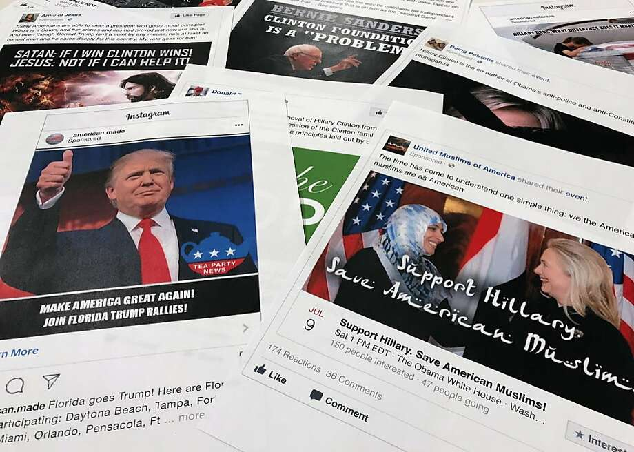 Facebook and Instagram ads linked to Russian propagandists. Photo: Jon Elswick, Associated Press