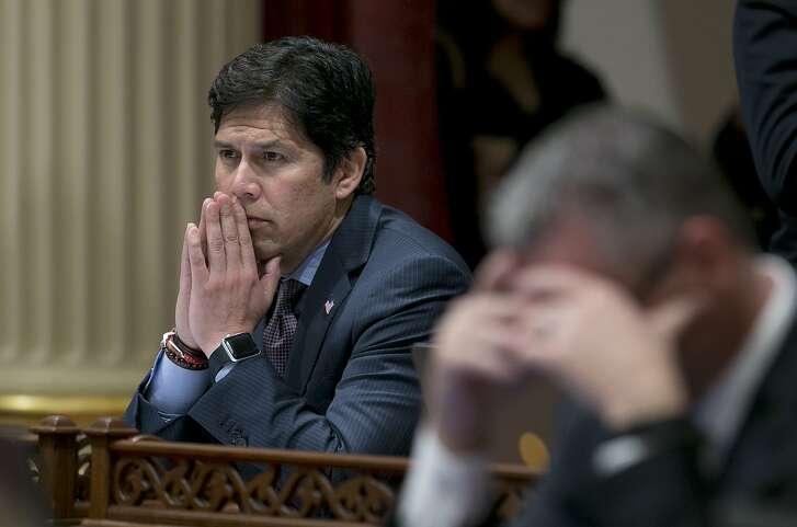 FILE --Thie April 20, 2017 file photo shows Senate President Pro Tem Kevin deLeon, D-Los Angeles, in Sacramento, Calif.  A sexual harassment investigation into a sitting California senator is putting a fresh spotlight on the legislative leader who is running for a U.S. senate seat. De Leon heads the committee in charge of overseeing workplace complaints and shares a house with Sen. Tony Mendoza, the lawmaker accused of misconduct. De Leon is also in the middle of a campaign to unseat U.S. Sen. Dianne Feinstein, the first woman California sent to the Senate. (AP Photo/Rich Pedroncelli, file)