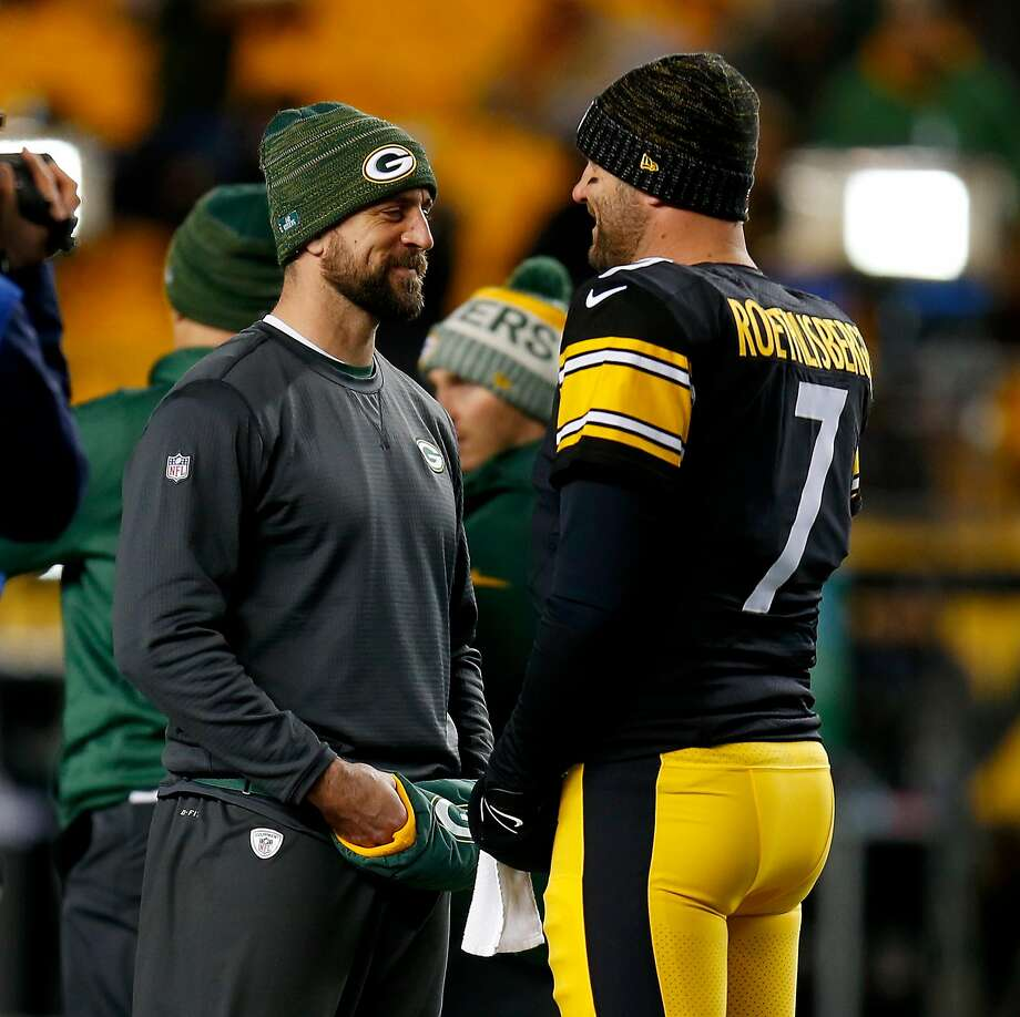 Aaron Rodgers threw passes of at least 50 yards in Pittsburgh on Sunday, and chatted with Steelers QB Ben Roethlisberger. Photo: Justin K. Aller, Getty Images