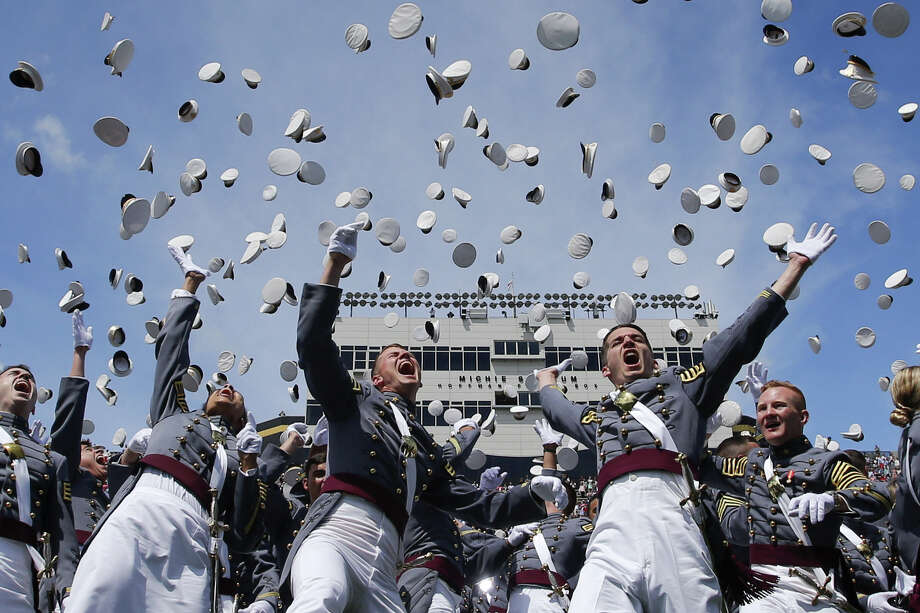 West Point graduates toss their hats in the air at the conclusion of the U.S. Military Academy Class of 2017 graduation ceremony at Michie Stadium on May 27, 2017 in West Point, N.Y.  (Photo by Eduardo Munoz Alvarez/Getty Images) Photo: Eduardo Munoz Alvarez, Stringer / 2017 Getty Images