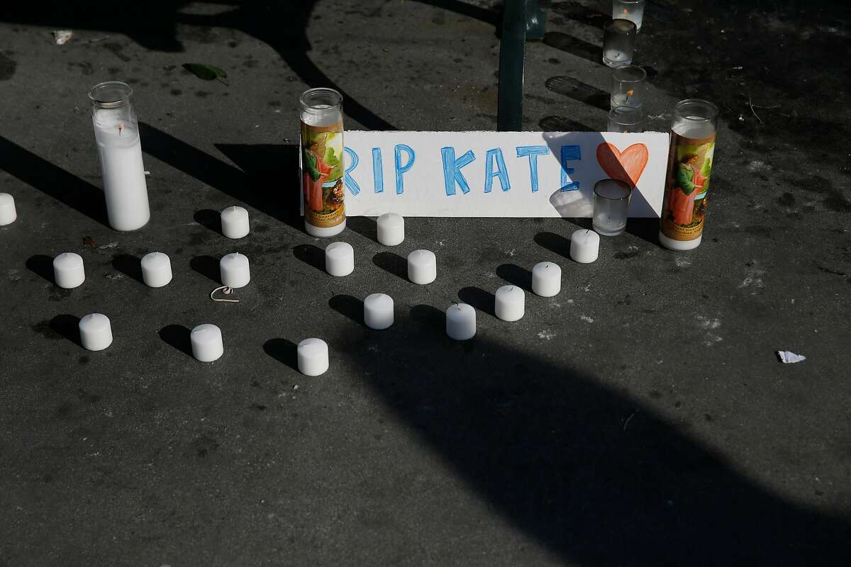 Part of a memorial for Kate Steinle is seen at Pier 14 on Friday, December 1, 2017 in San Francisco, Calif. Much of the shrine appeared to have been started by a self-proclaimed �alt-right� group. Jose Ines Garcia Zarate was acquitted of murder and manslaughter charges in the killing of Kate Steinle the day before.