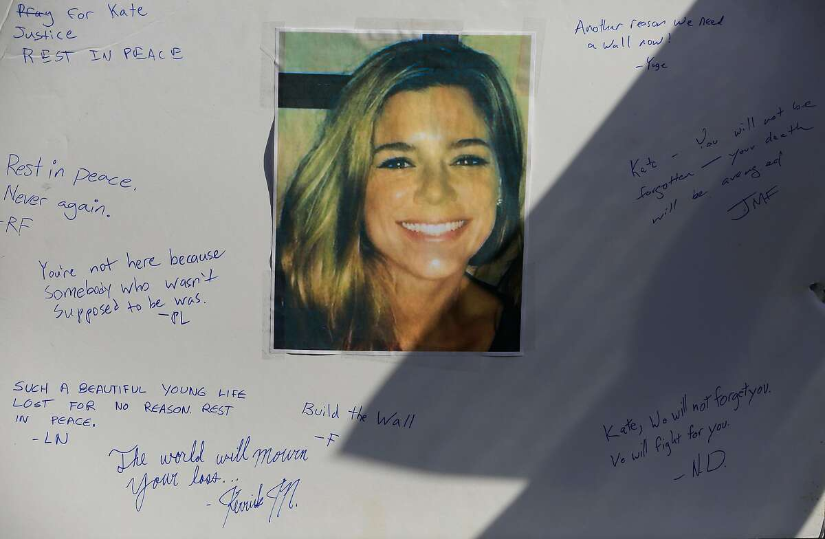 Messages are seen on a poster with a photo of Kate Steinle at a memorial at Pier 14 on Friday, December 1, 2017 in San Francisco, Calif. Much of the shrine appeared to have been started by a self-proclaimed �alt-right� group. Jose Ines Garcia Zarate was acquitted of murder and manslaughter charges in the killing of Kate Steinle the day before.