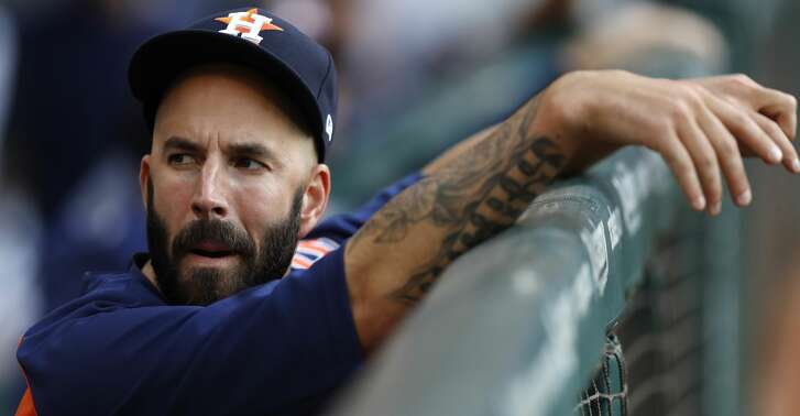 Houston Astros starting pitcher Mike Fiers (54) stands in the dugout during the first inning of an MLB baseball game at Minute Maid Park, Tuesday, April 4, 2017, in Houston.   ( Karen Warren / Houston Chronicle )