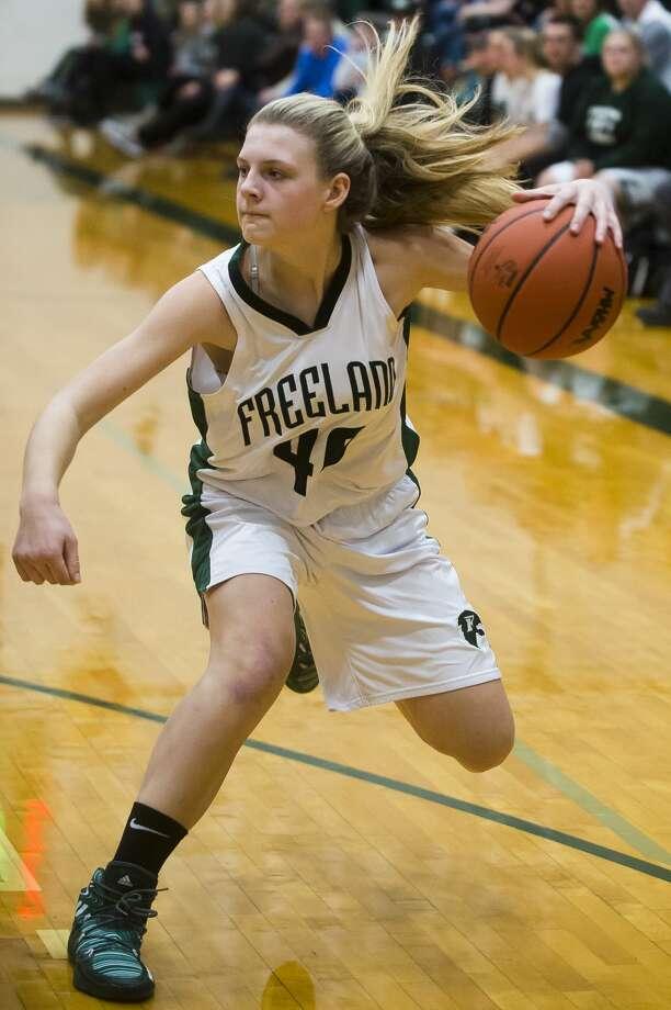 Freeland sophomore Kadyn Blanchard dribbles toward the basket during a game against Midland on Friday, Dec. 1, 2017 at Freeland High School. (Katy Kildee/kkildee@mdn.net) Photo: (Katy Kildee/kkildee@mdn.net)