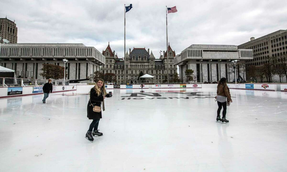 The ice skating rink in the Empire State Plaza is officially open for business after a brief ceremony with Lt. Governor Kathy Hochul Friday Dec 1, 2017 in Albany, NY. (Skip Dickstein/ Times Union)