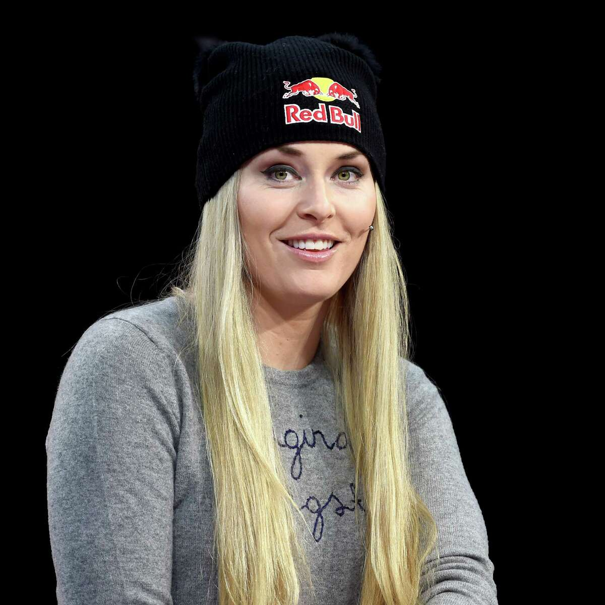ST MORITZ, SWITZERLAND - FEBRUARY 08: Lindsey Vonn visits the Eurosport studio in St Moritz for an interview by lead presenter and former Olympic triple-jump champion and world record holder, Jonathan Edwards on February 8, 2017 in St Moritz, Switzerland. (Photo by Pier Marco Tacca/Getty Images for Eurosport) ORG XMIT: 1000003361