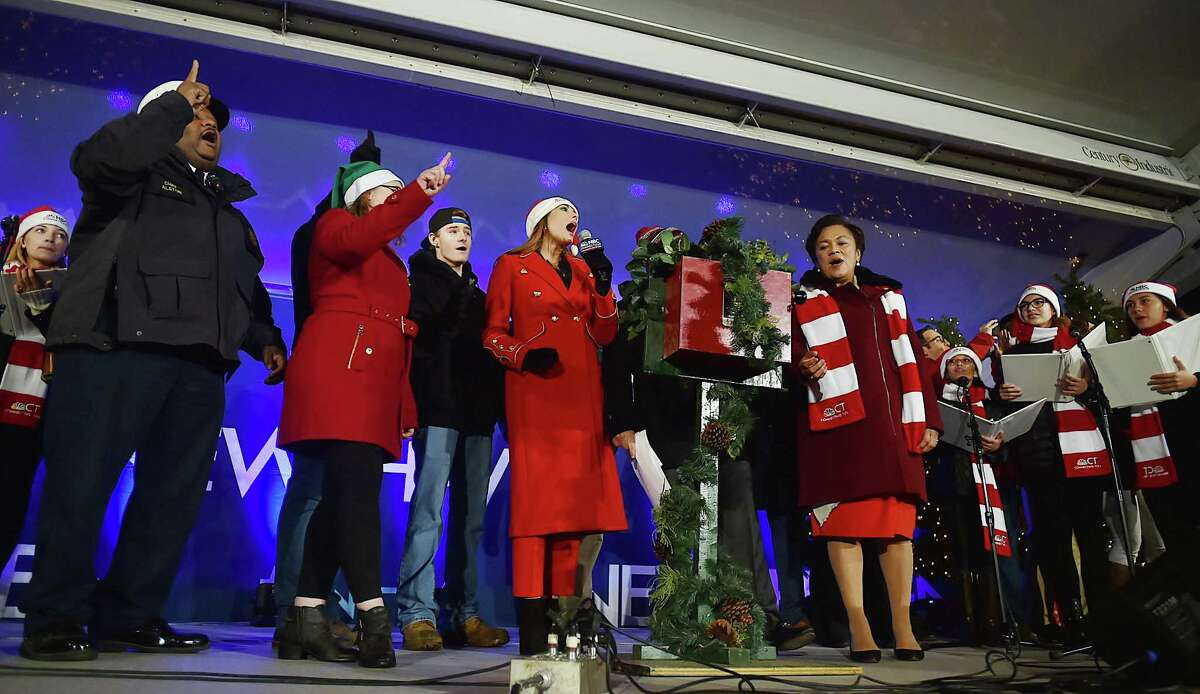 The city of New Haven kicked off their holiday season with the annual Christmas tree lighting, Thursday, Nov. 30, 2017, on the historic New Haven Green.