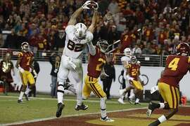 Stanford's Kaden Smith, 82 pulls down a fourth quarter touchdown, as the Stanford Cardinal ended up losing to the USC Trojans 31-28  in the PAC-12 championship game at Levi's Stadium, in Santa Clara Calif. on Fri. December 1, 2017.