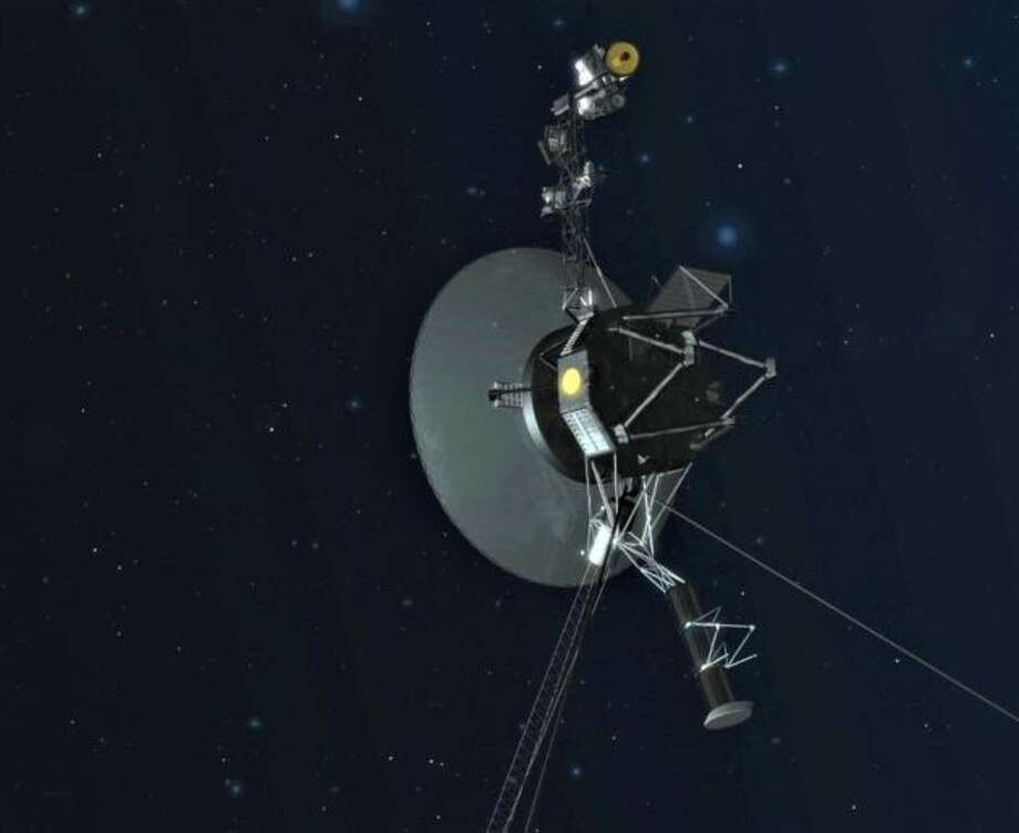 An artist's conception shows the Voyager spacecraft pointing its antenna back toward Earth. (NASA / JPL-Caltech Illustration) Photo: Via GeekWire
