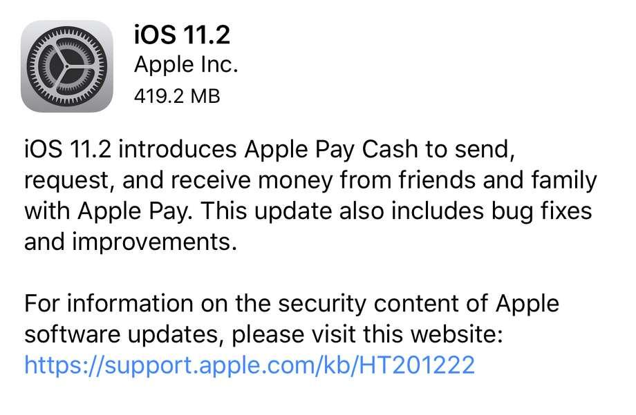 iOS 11.2 is ready