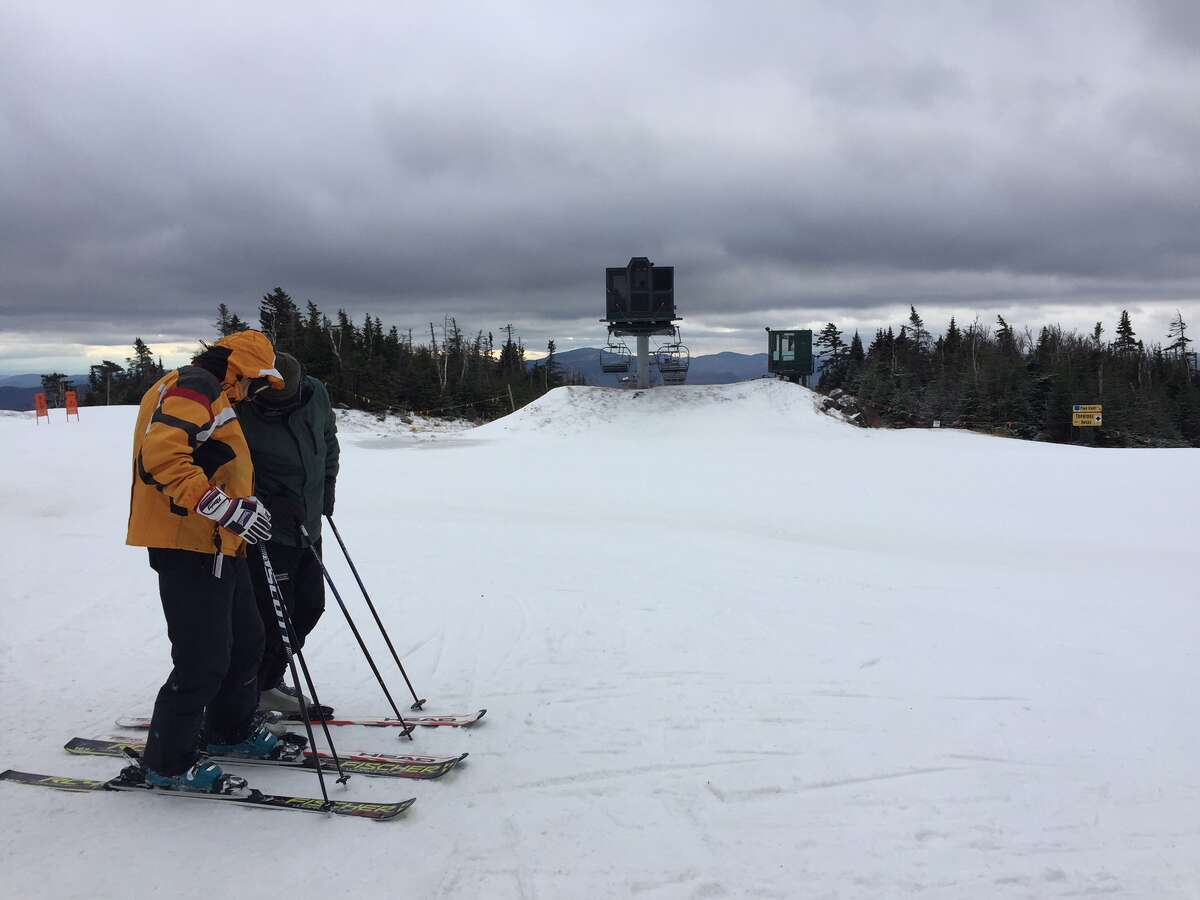 Snowmaking has produced a wintry scene atop the gondola at Gore, despite a lack of natural snow