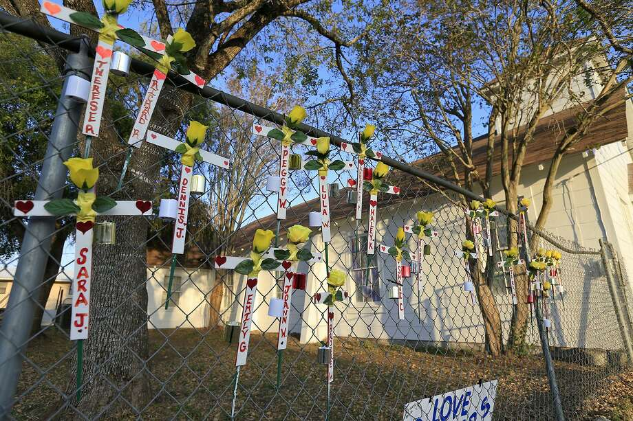 A view of crosses left outside the First Baptist Church of Sutherland Springs Memorial Thursday Nov. 30, 2017 in Sutherland Springs, Tx. Photo: Edward A. Ornelas, Staff / San Antonio Express-News / © 2017 San Antonio Express-News