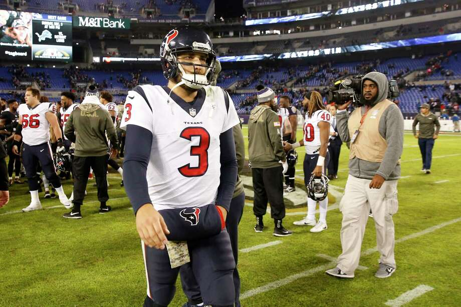 BALTIMORE, MD - NOVEMBER 27: Quarterback Tom Savage #3 of the Houston Texans walks off the field after a 16-23 loss to the Baltimore Ravens at M&T Bank Stadium on November 27, 2017 in Baltimore, Maryland. (Photo by Rob Carr/Getty Images) Photo: Rob Carr, Staff / 2017 Getty Images