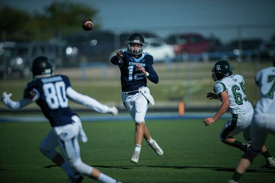 Cypress Christian senior quarterback Joshua Holl led the Warriors with five touchdown passes in Friday's state semi-final win against Geneva 49-43. Cypress Christian is going to the state football championship for the first time in school history. Photo: Cypress Christian School