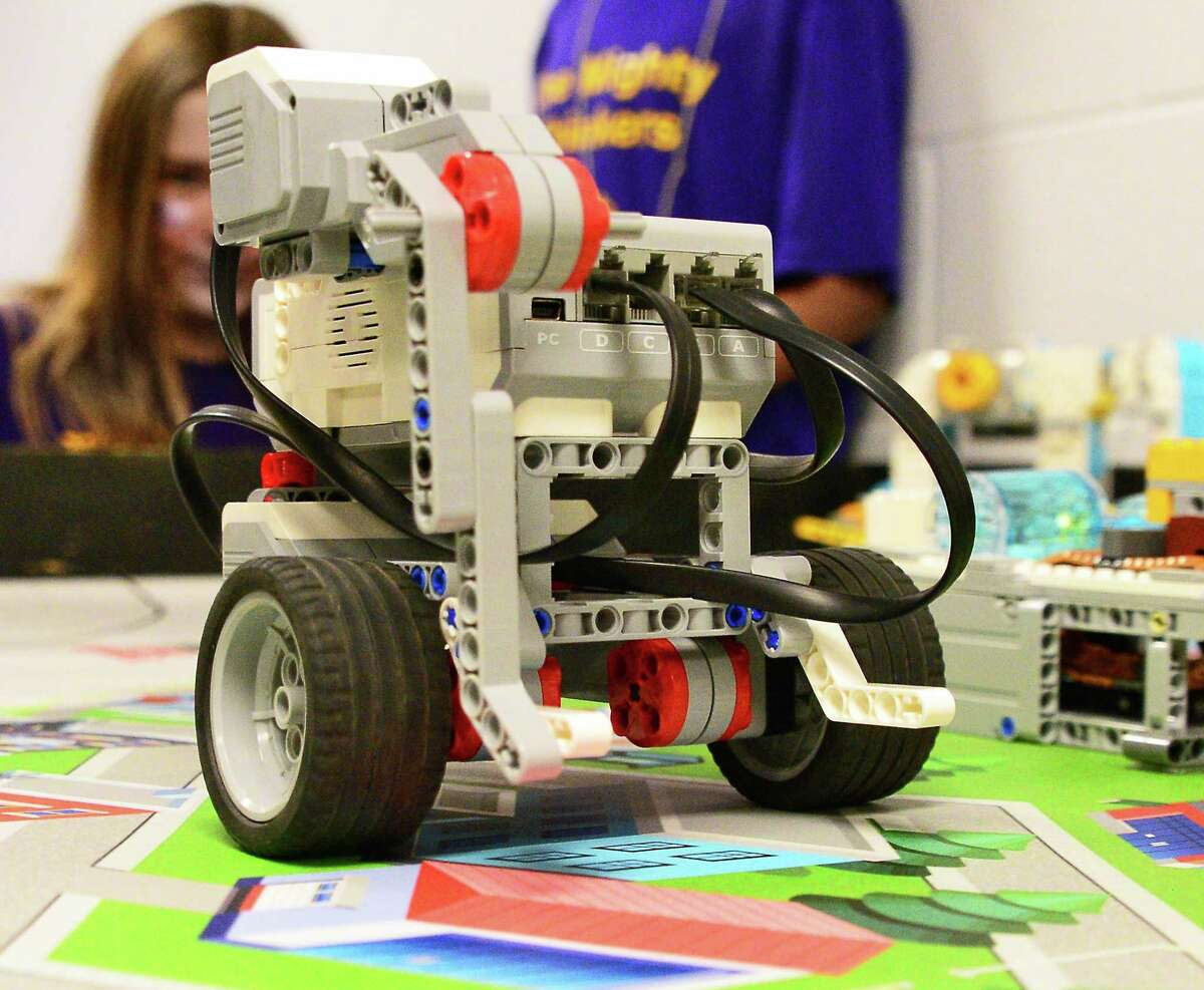 A LEGO robot is put through its paces as Ballston Spa Schools hosts the Hudson Valley FIRST LEGO League Qualifying Tournament Saturday Dec. 2, 2017 in Ballston Spa, NY. (John Carl D'Annibale / Times Union)