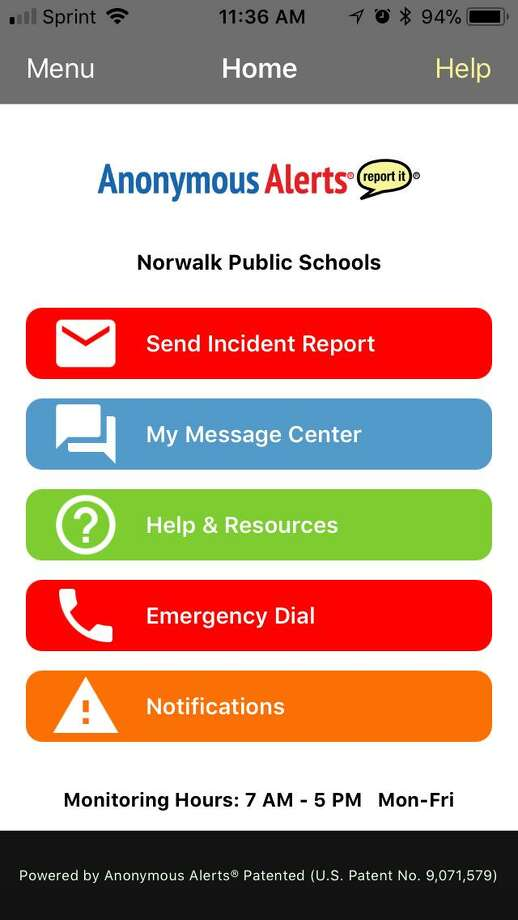 The Anonymous Alerts application home page Photo: Kaitlyn Krasselt / Hearst Connecticut Media / Norwalk Hour