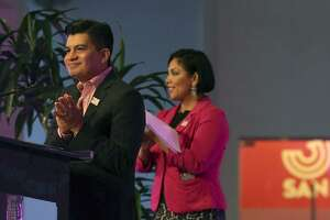 Edward Benavides, with the City of San Antonio, greets people at the announcement of the formation of the San Antonio Tricentennial Commission. The event begins on May 1-6, 2018 and will celebrate San Antonio's 300 years of life commemorating San Antonio's art, culture, history and presence on the gobal stage. The event was held at the Centro de Artes Building at Market Square.