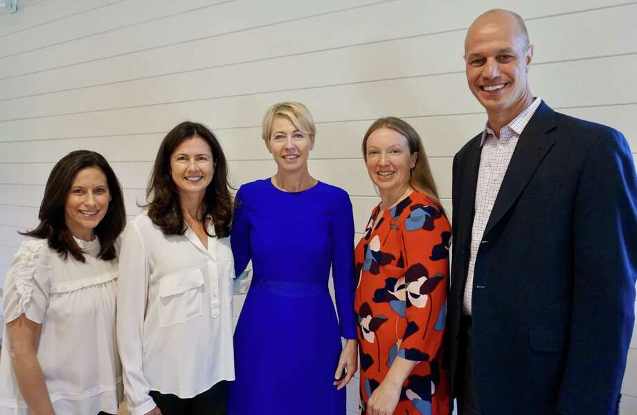 From left: Impact Fairfield County co-founders Wendy Block and Vicki Craver; Lisa Lynne Kirkpatrick,  community initiative director of Grace Farms; Quentin Ball, executive director of The Center for Sexual Assault Crisis Counseling and Education; and Jason Shaplen, CEO of Inspirica. Photo: Contributed Photo