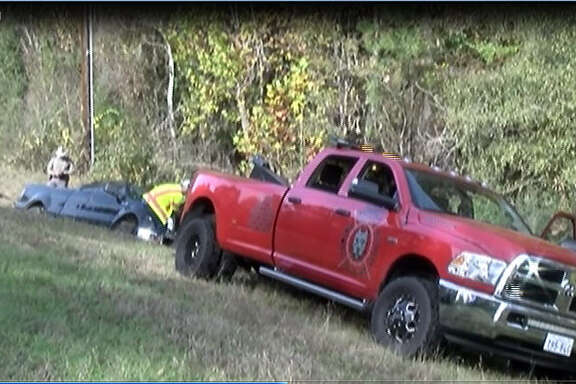 A man was found dead Saturday morning in an overturned pick-up truck near a cemetery in Conroe, according to reports from the Montgomery County Police Reporter. The man's black Ford F150 was located around 8 a.m. off of FM 2854 upside down in a creek bed.