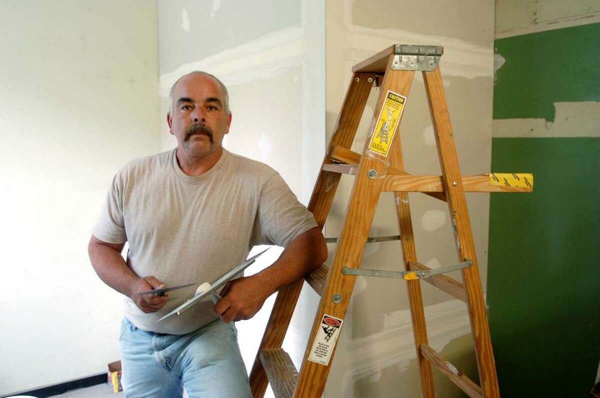 """Bob Meyernick, 42, carpenter, of Ansonia: """"America is the land of opportunity. You can do anything you want, if you work hard you can do anything you want. If you can find a job these days."""""""