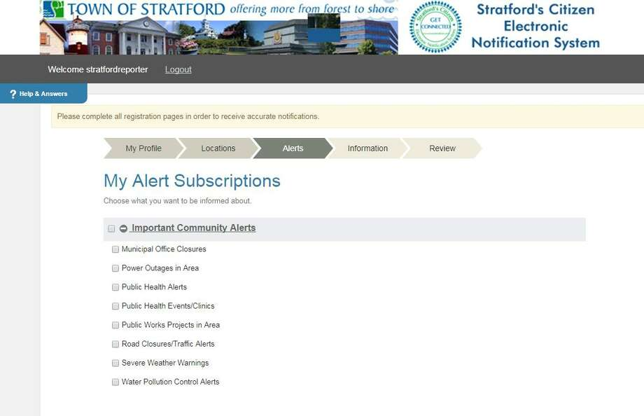 Screenshot of the alert subscription options on the Town of Stratford's Electronic Notification System signup page. Photo: Contributed Photo / Town Of Stratford / Contributed Photo / Connecticut Post Contributed