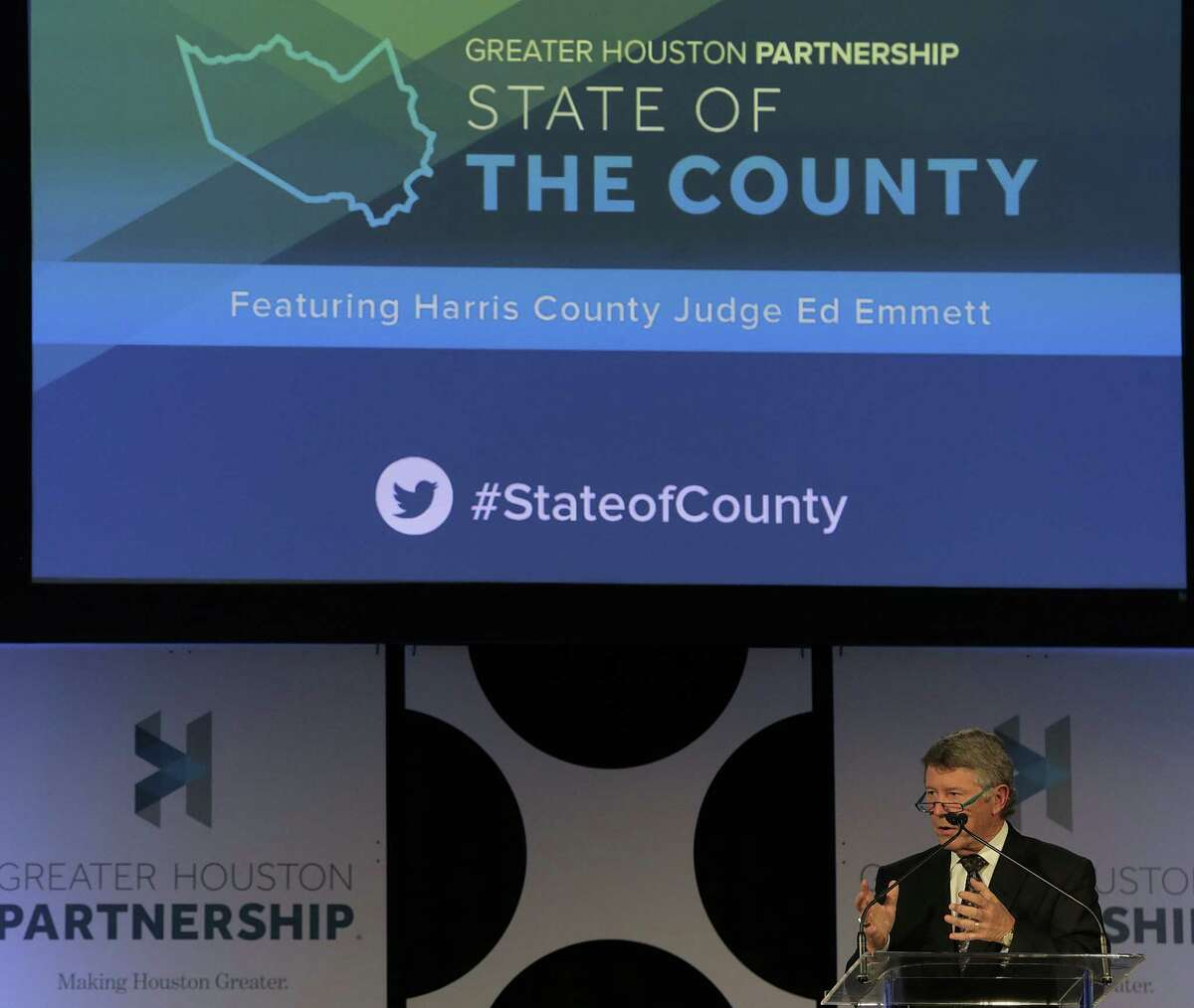 Harris County Judge Ed Emmett delivers his state of the county address at NRG Convention Center on Nov. 28, 2017, in Houston. ( Elizabeth Conley / Houston Chronicle )