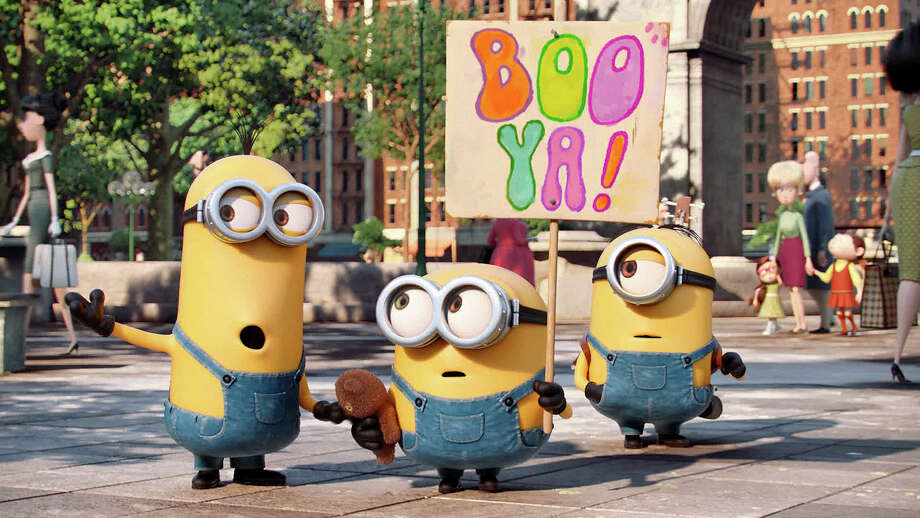 """(L-r) Kevin, Bob and Stuart are on a mission in """"Minions,"""" a prequel to """"Despicable Me."""" Illustrates FILM-MINIONS-ADV10 (category e), by Michael O'Sullivan © 2015, The Washington Post. Moved Wednesday, July 8, 2015. (MUST CREDIT: Universal Pictures and Illumination Entertainment.) Photo: Universal Pictures And Illumination Entertainment / THE WASHINGTON POST"""