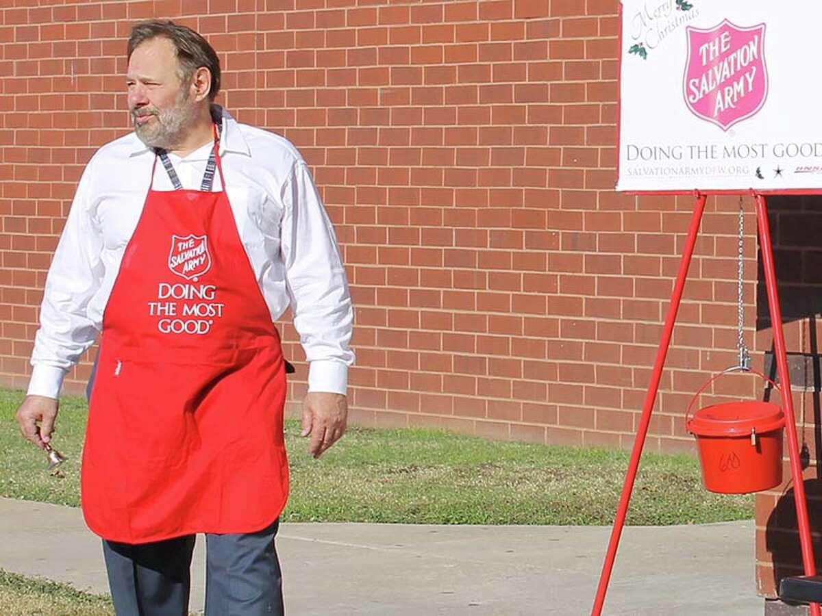 Bruce Bachman, an engineer living in the Dallas-Fort Worth area, gives a little of his time during the holiday season asa volunteer bell ringer for the Salvation Army.