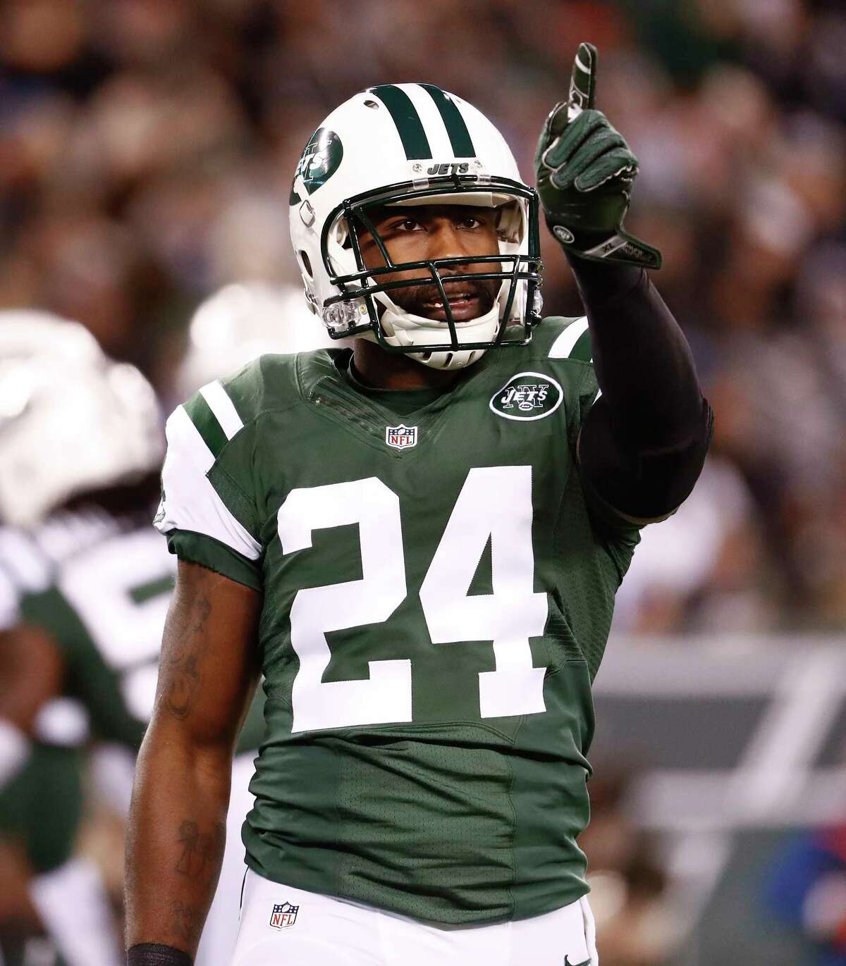 FILE-This Nov. 27, 2016, file photo shows New York Jets cornerback Darrelle Revis reacting after a defensive play against the New England Patriots during an NFL football game in East Rutherford, N.J. The Kansas City Chiefs needed help in their leaky defensive backfield. Revis was ready to provide it. So the AFC West leaders signed the seven-time Pro Bowl cornerback on Wednesday, Nov. 22, 2017, a surprising mid-season move involving a big-name player. (AP Photo/Julio Cortez, File) ORG XMIT: NYSH301