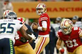 SANTA CLARA, CA - NOVEMBER 26: Jimmy Garoppolo #10 of the San Francisco 49ers in action against the Seattle Seahawks at Levi's Stadium on November 26, 2017 in Santa Clara, California. (Photo by Lachlan Cunningham/Getty Images)