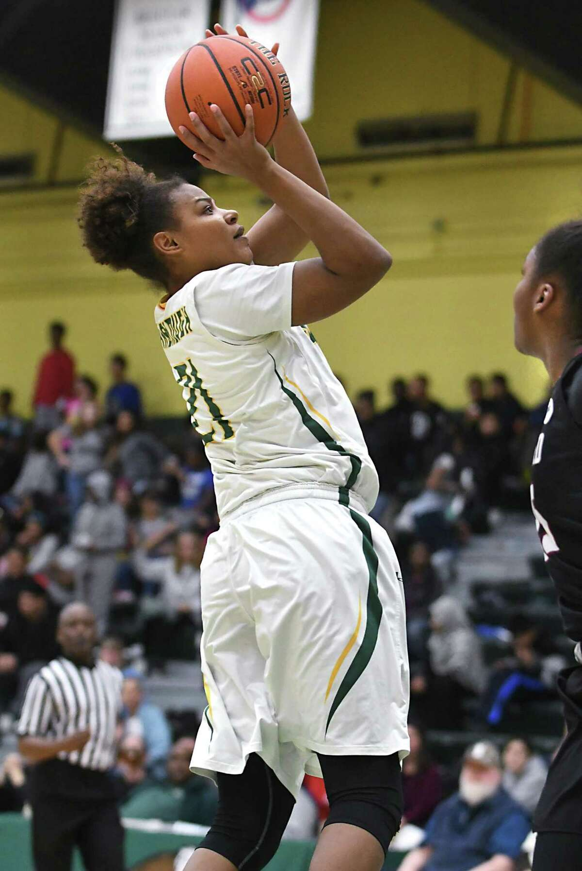 Siena's Kollyns Scarbrough makes a two pointer during a basketball game against Harvard at Siena College on Wednesday, Dec. 21, 2016 in Loudonville, N.Y. (Lori Van Buren / Times Union)