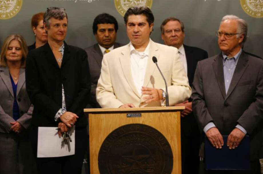 Texas House member Eddie Rodriguez, D-Austin, shown here at a June 2017 press conference, later made a statement linking domestic violence and mass shooters. PolitiFact Texas found the claim False (Photo: Ralph Barrera, Austin American-Statesman).